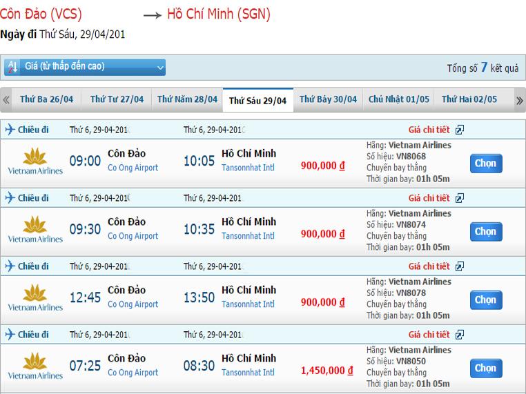 Cách mua vé máy bay Côn Đảo đi Sài Gòn giá rẻ