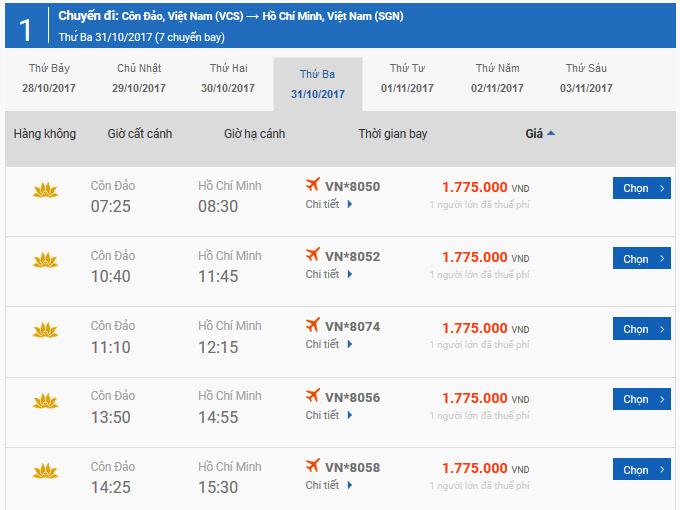 Vé máy bay Côn Đảo đi Sài Gòn giá rẻ